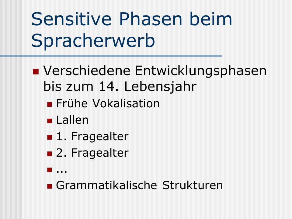 Sensitive Phasen beim Spracherwerb Verschiedene Entwicklungsphasen bis zum 14. Lebensjahr Frühe Vokalisation Lallen 1. Fragealter 2. Fragealter... Gra