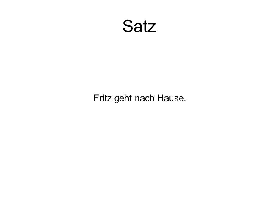 Satz Fritz geht nach Hause.