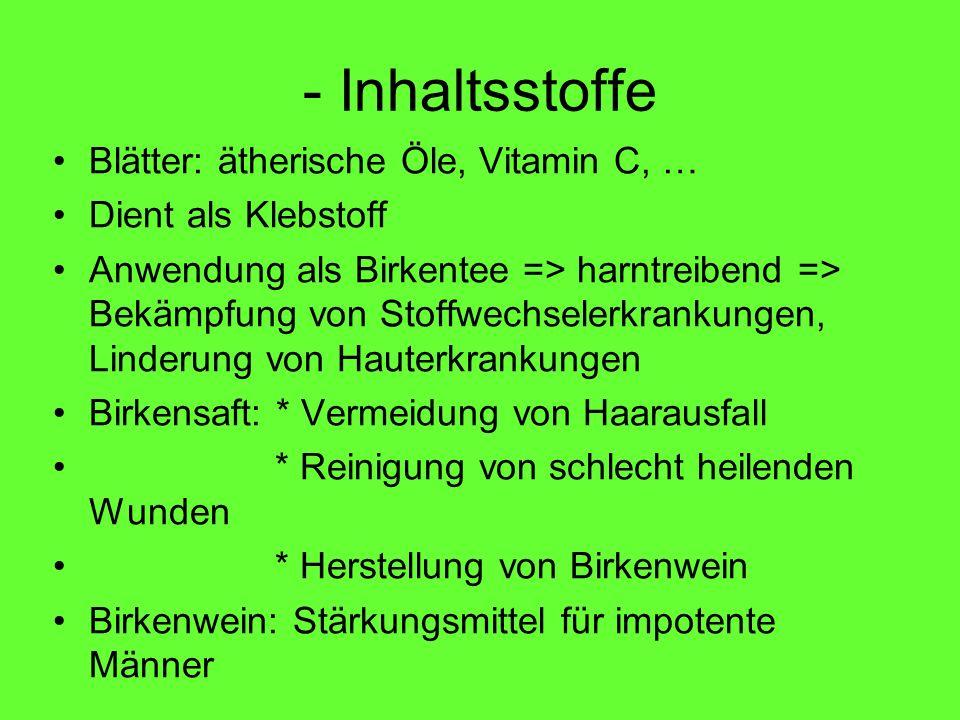 - Inhaltsstoffe Blätter: ätherische Öle, Vitamin C, … Dient als Klebstoff Anwendung als Birkentee => harntreibend => Bekämpfung von Stoffwechselerkran