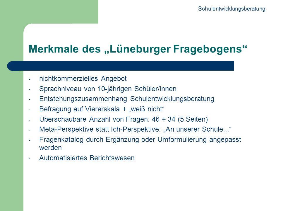 Schulentwicklungsberatung 10 Merkmale des Lüneburger Fragebogens - nichtkommerzielles Angebot - Sprachniveau von 10-jährigen Schüler/innen - Entstehun