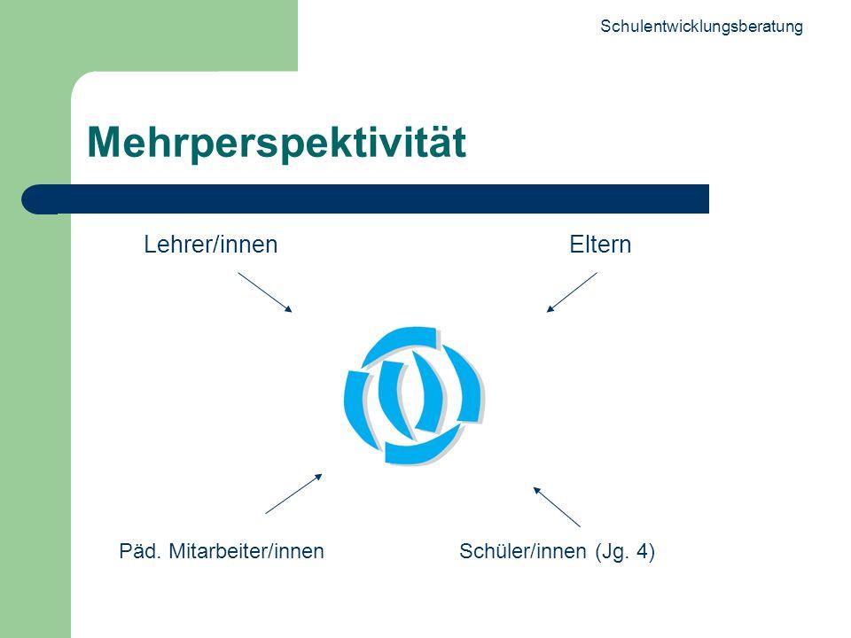 Schulentwicklungsberatung 13 Mehrperspektivität Lehrer/innenEltern Päd. Mitarbeiter/innenSchüler/innen (Jg. 4)