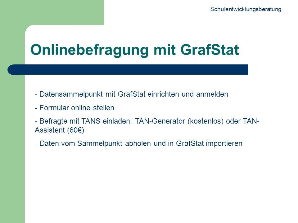 Schulentwicklungsberatung 18 Onlinebefragung mit GrafStat - Datensammelpunkt mit GrafStat einrichten und anmelden - Formular online stellen - Befragte mit TANS einladen: TAN-Generator (kostenlos) oder TAN- Assistent (60) - Daten vom Sammelpunkt abholen und in GrafStat importieren