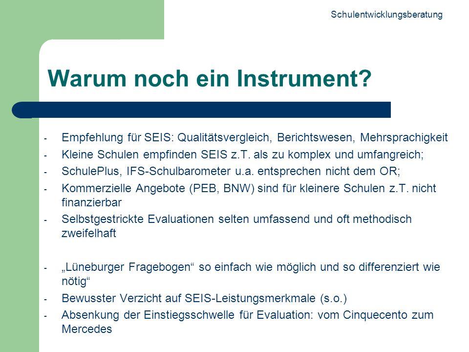 4 Warum noch ein Instrument? - Empfehlung für SEIS: Qualitätsvergleich, Berichtswesen, Mehrsprachigkeit - Kleine Schulen empfinden SEIS z.T. als zu ko