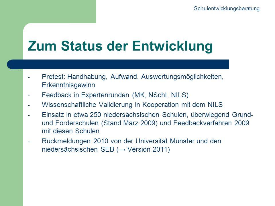 Schulentwicklungsberatung 6 Zum Status der Entwicklung - Pretest: Handhabung, Aufwand, Auswertungsmöglichkeiten, Erkenntnisgewinn - Feedback in Expert