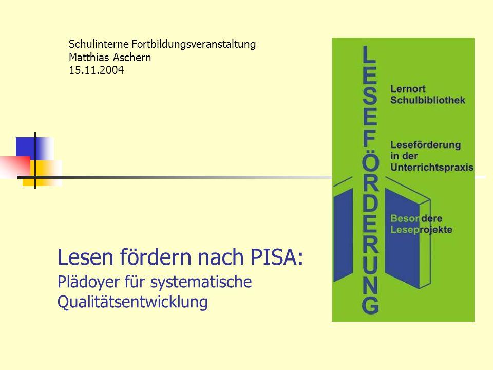Lesen fördern nach PISA: Plädoyer für systematische Qualitätsentwicklung Schulinterne Fortbildungsveranstaltung Matthias Aschern 15.11.2004