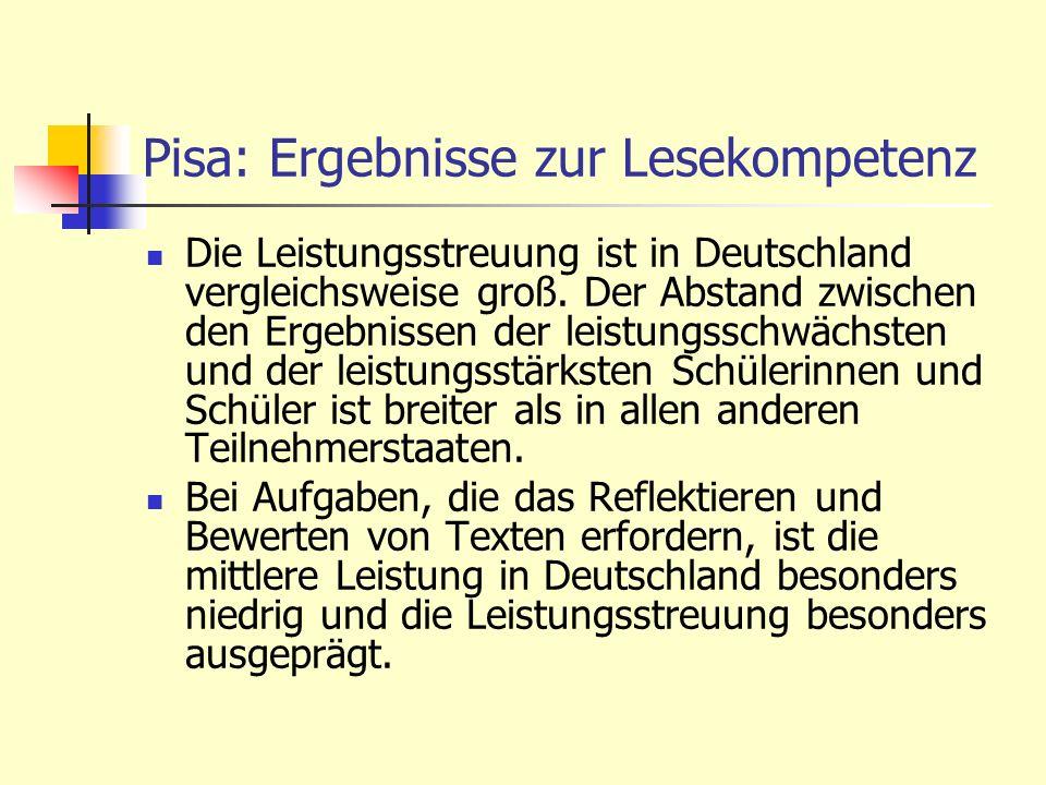Die Leistungsstreuung ist in Deutschland vergleichsweise groß. Der Abstand zwischen den Ergebnissen der leistungsschwächsten und der leistungsstärkste