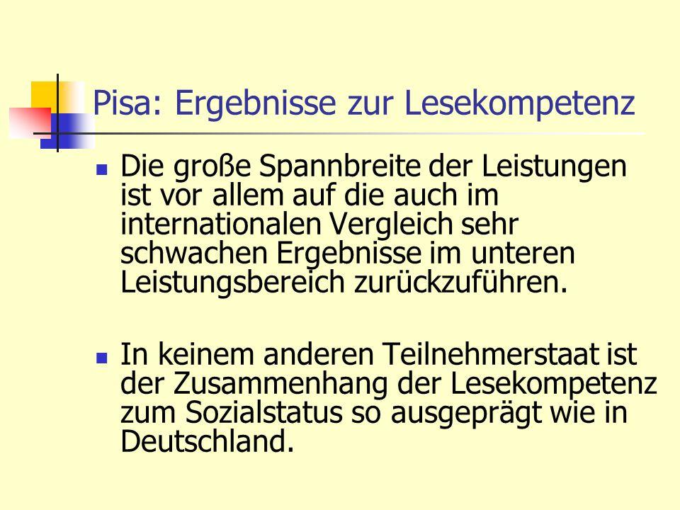 Pisa: Ergebnisse zur Lesekompetenz Die große Spannbreite der Leistungen ist vor allem auf die auch im internationalen Vergleich sehr schwachen Ergebni