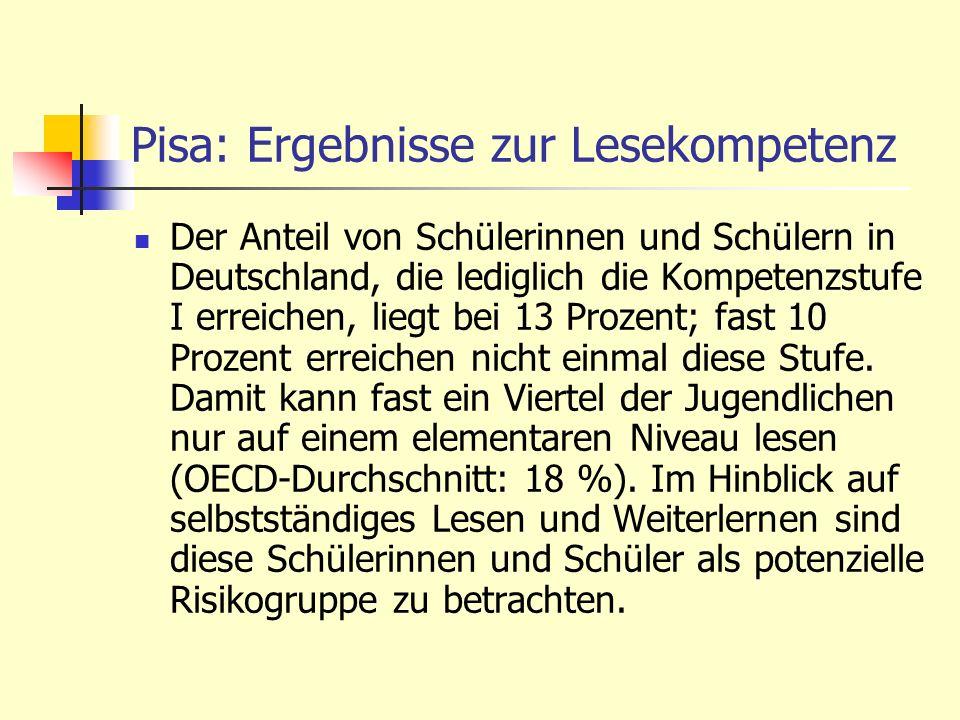 Pisa: Ergebnisse zur Lesekompetenz Der Anteil von Schülerinnen und Schülern in Deutschland, die lediglich die Kompetenzstufe I erreichen, liegt bei 13