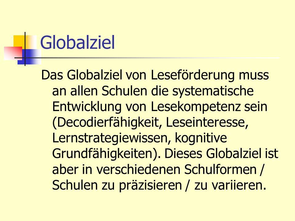 Globalziel Das Globalziel von Leseförderung muss an allen Schulen die systematische Entwicklung von Lesekompetenz sein (Decodierfähigkeit, Leseinteres