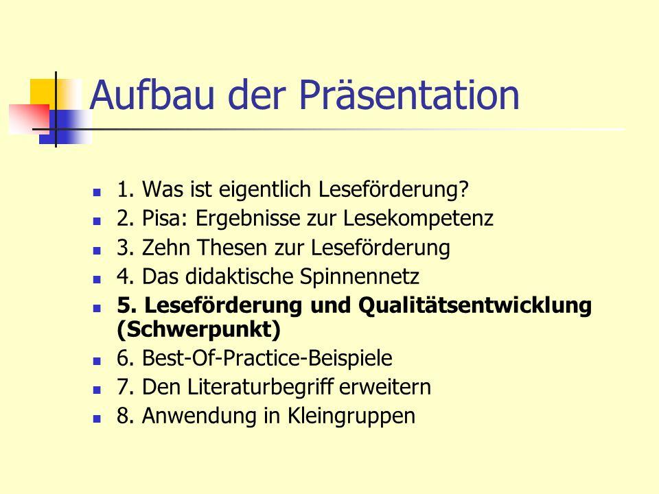 Aufbau der Präsentation 1. Was ist eigentlich Leseförderung? 2. Pisa: Ergebnisse zur Lesekompetenz 3. Zehn Thesen zur Leseförderung 4. Das didaktische