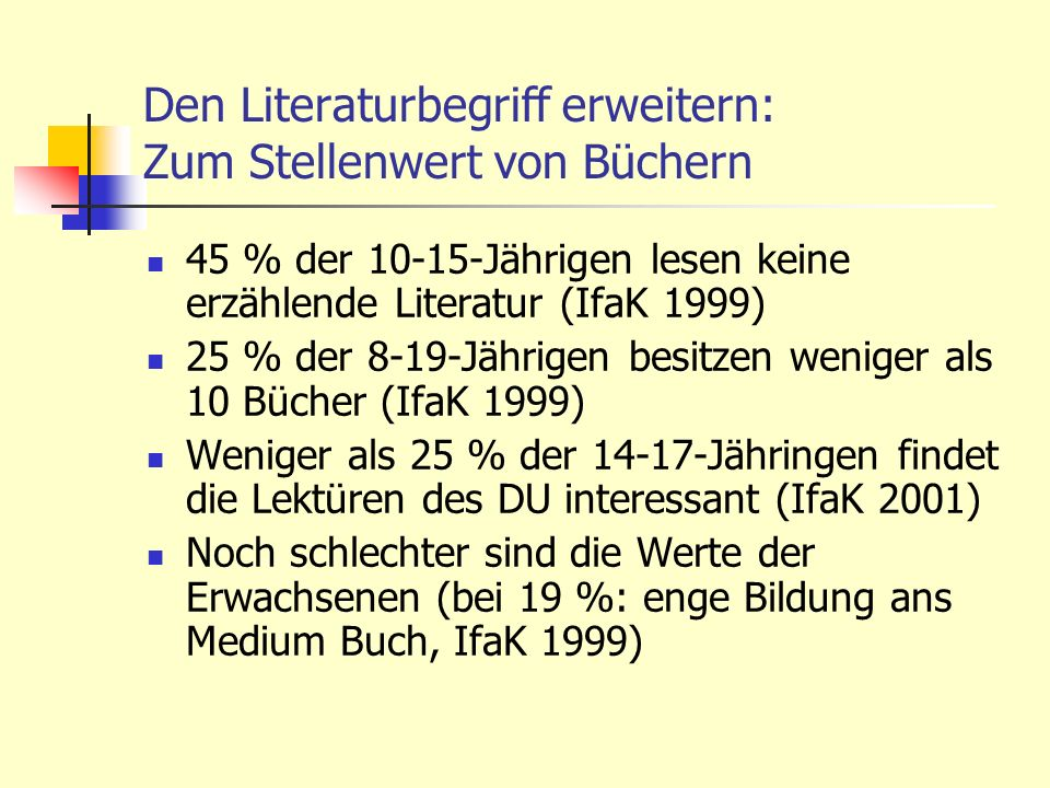 Den Literaturbegriff erweitern: Zum Stellenwert von Büchern 45 % der 10-15-Jährigen lesen keine erzählende Literatur (IfaK 1999) 25 % der 8-19-Jährige
