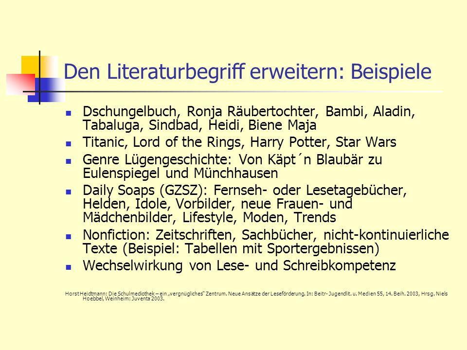 Den Literaturbegriff erweitern: Beispiele Dschungelbuch, Ronja Räubertochter, Bambi, Aladin, Tabaluga, Sindbad, Heidi, Biene Maja Titanic, Lord of the