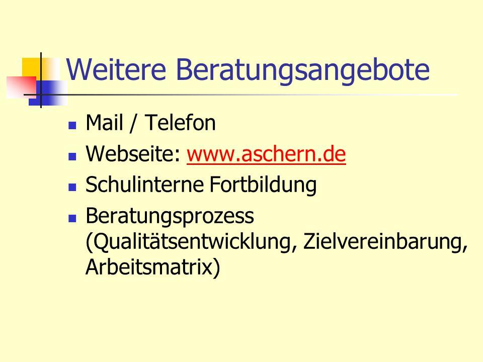 Weitere Beratungsangebote Mail / Telefon Webseite: www.aschern.dewww.aschern.de Schulinterne Fortbildung Beratungsprozess (Qualitätsentwicklung, Zielv