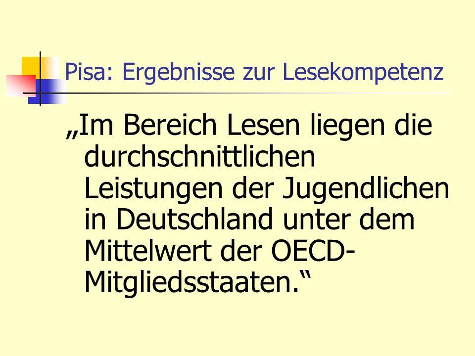 Pisa: Ergebnisse zur Lesekompetenz Im Bereich Lesen liegen die durchschnittlichen Leistungen der Jugendlichen in Deutschland unter dem Mittelwert der