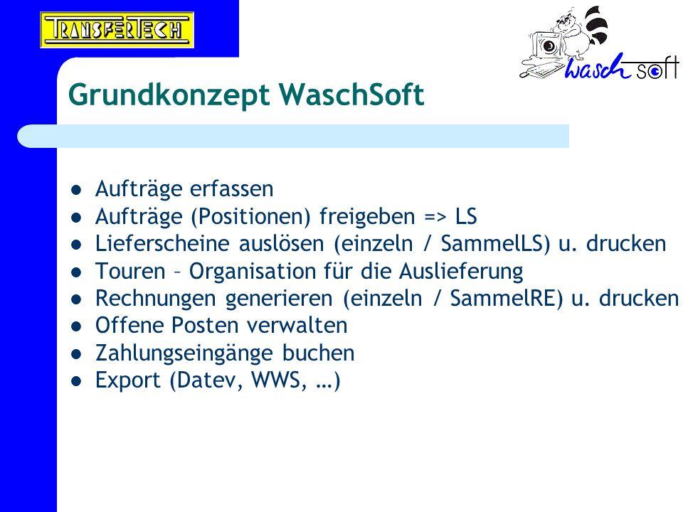 Grundkonzept WaschSoft Aufträge erfassen Aufträge (Positionen) freigeben => LS Lieferscheine auslösen (einzeln / SammelLS) u. drucken Touren – Organis