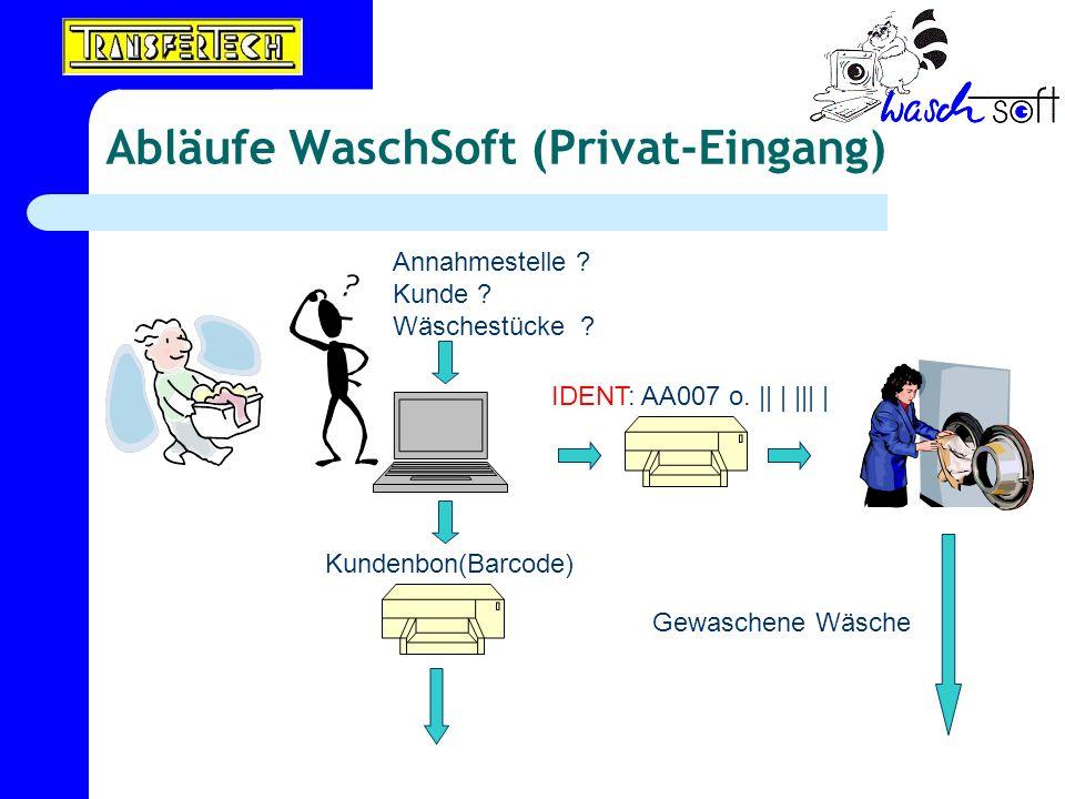 Abläufe WaschSoft (Privat-Eingang) Annahmestelle ? Kunde ? Wäschestücke ? IDENT: AA007 o. || | ||| | Kundenbon(Barcode) Gewaschene Wäsche