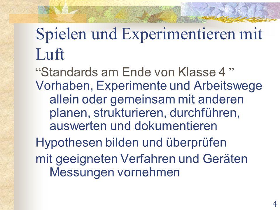 4 Spielen und Experimentieren mit Luft Standards am Ende von Klasse 4 Vorhaben, Experimente und Arbeitswege allein oder gemeinsam mit anderen planen, strukturieren, durchführen, auswerten und dokumentieren Hypothesen bilden und überprüfen mit geeigneten Verfahren und Geräten Messungen vornehmen