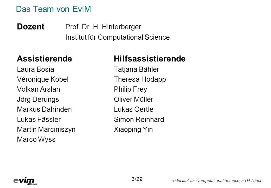 © Institut für Computational Science, ETH Zürich Datum 1Einführung28.