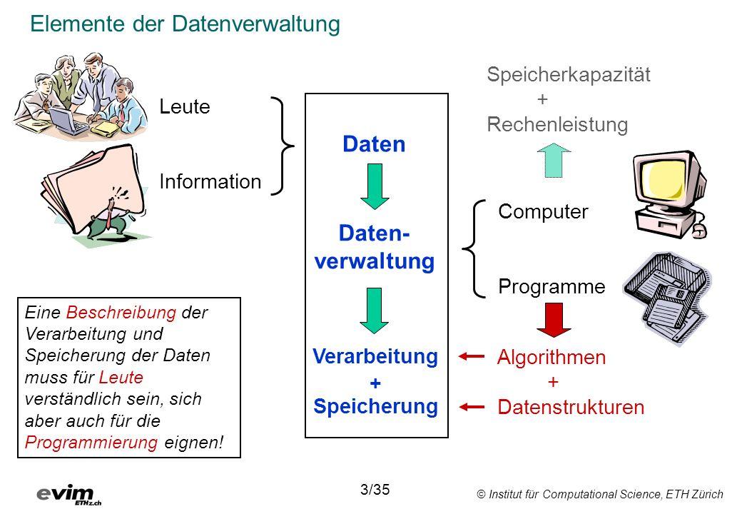 © Institut für Computational Science, ETH Zürich Selection + Projection mit dem SQL-Befehl SELECT SELECT Nährstoff_id, Menge FROM Nahrungsmittel WHERE Nährstoff_id = 84 Nährstoff_idMenge 8412.1 8448.802 Resultat: 22/35 NameCH-CodeNährstoff_idMenge Aprikose18.1.2.118086.79 Aprikose18.1.2.18412.1 Paranuss18.1.6.61805.929 Bürli12.1.2.Z.218039.632 Bürli12.1.2.Z.28448.802 Bürli12.1.2.Z.2572.032 Nahrungsmittel