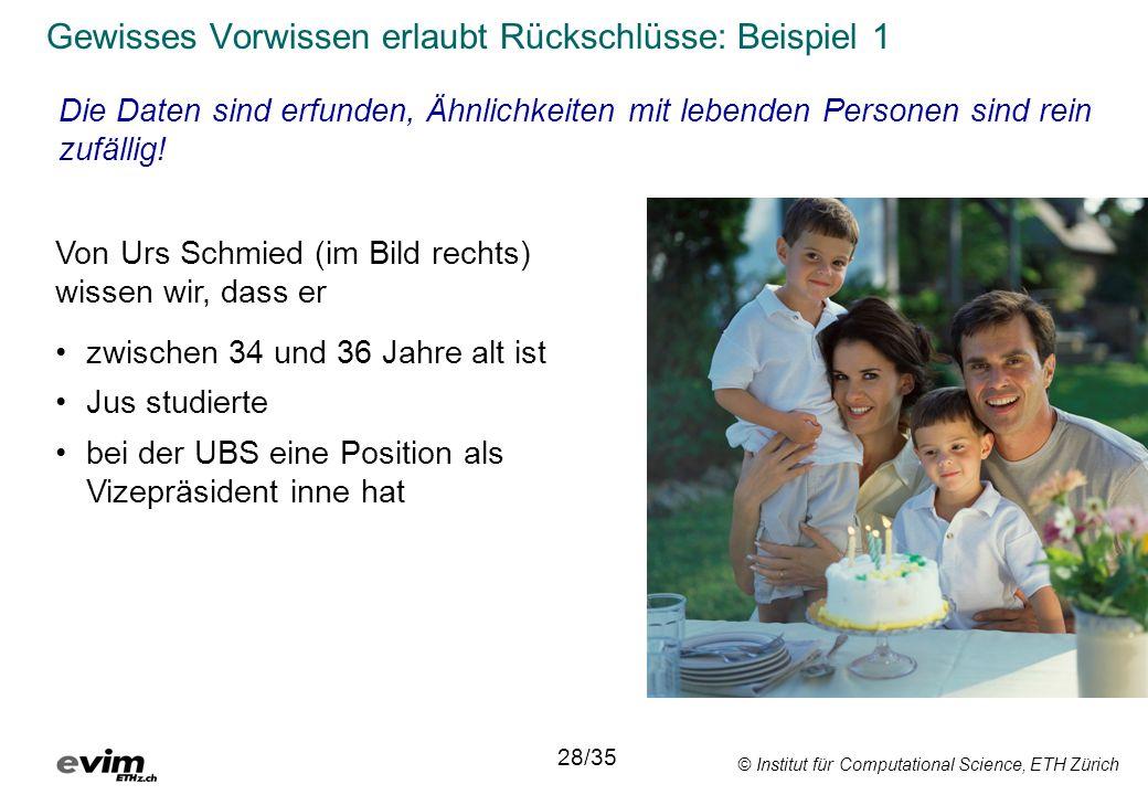 © Institut für Computational Science, ETH Zürich Von Urs Schmied (im Bild rechts) wissen wir, dass er 28/35 Gewisses Vorwissen erlaubt Rückschlüsse: B