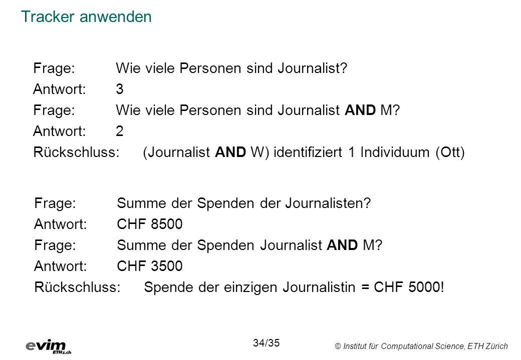© Institut für Computational Science, ETH Zürich Tracker anwenden Frage:Wie viele Personen sind Journalist? Antwort:3 Frage: Wie viele Personen sind J