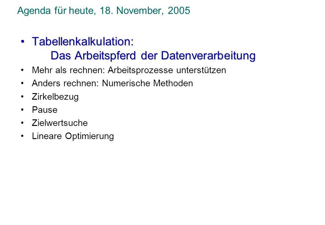 Agenda für heute, 18. November, 2005 Tabellenkalkulation:Tabellenkalkulation: Das Arbeitspferd der Datenverarbeitung Mehr als rechnen: Arbeitsprozesse