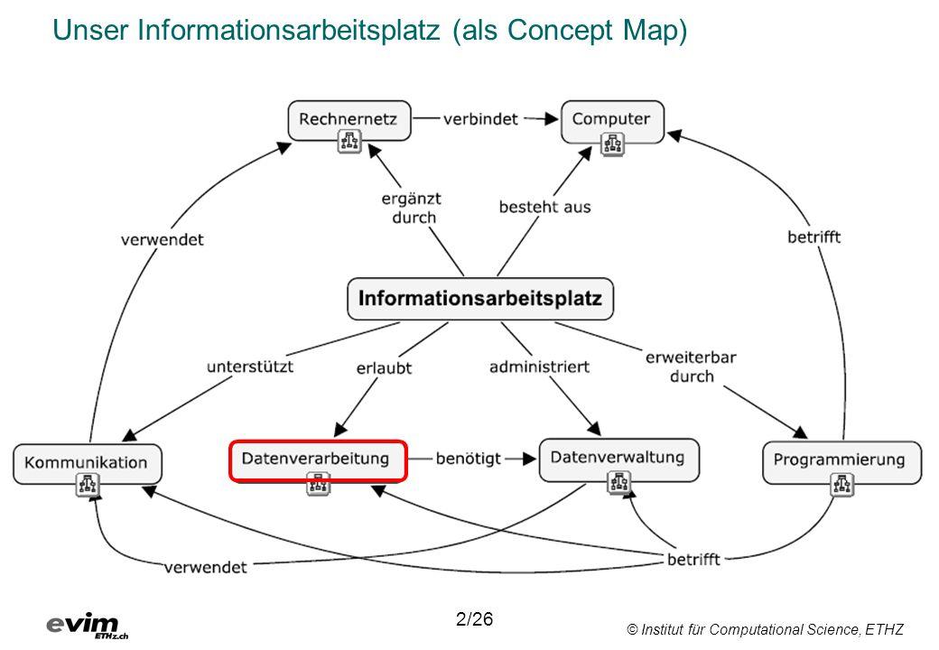 © Institut für Computational Science, ETHZ Datenverarbeitung Sammelbegriff für alle Vorgänge, Abläufe und Geräte der Informatik.