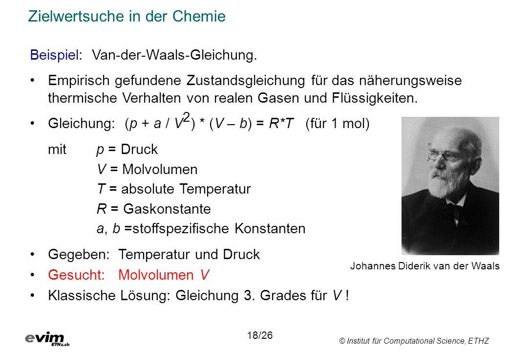 © Institut für Computational Science, ETHZ Zielwertsuche in der Chemie Beispiel: Van-der-Waals-Gleichung. Empirisch gefundene Zustandsgleichung für da