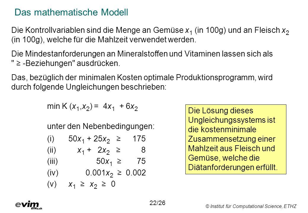 © Institut für Computational Science, ETHZ Das mathematische Modell 22/26 Die Kontrollvariablen sind die Menge an Gemüse x 1 (in 100g) und an Fleisch
