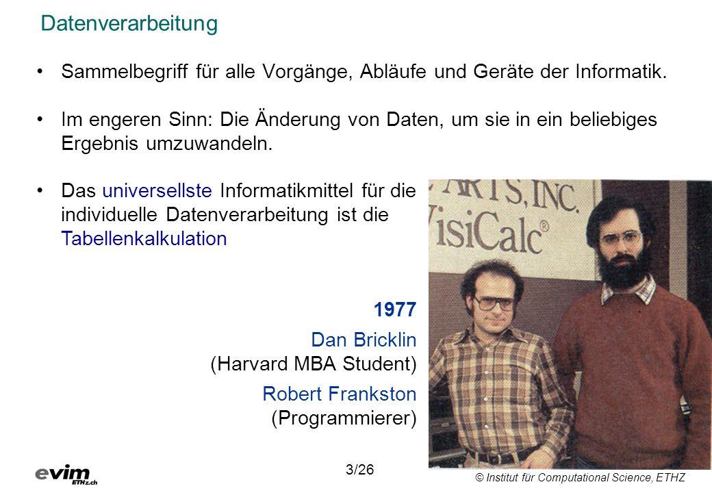© Institut für Computational Science, ETHZ 12/26