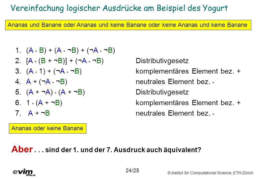 © Institut für Computational Science, ETH Zürich Vereinfachung logischer Ausdrücke am Beispiel des Yogurt 1.(A B) + (A ¬B) + (¬A ¬B) 2.[A (B + ¬B)] +
