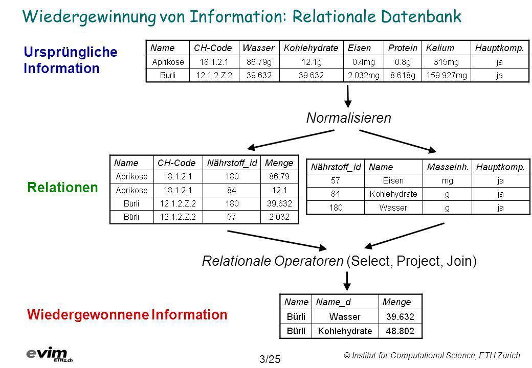 © Institut für Computational Science, ETH Zürich Wiedergewinnung von Information: Relationale Datenbank Normalisieren Relationale Operatoren (Select,