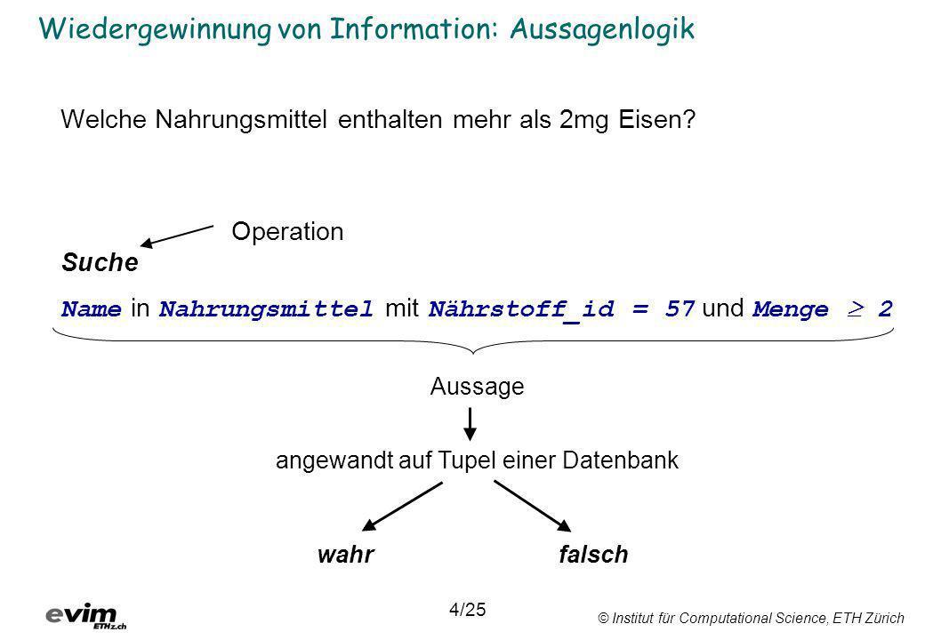 © Institut für Computational Science, ETH Zürich Boolesche Algebra (9)es gibt ein Element 0 M mit 0 x = 0 und 0 + x = x für alle x M ; Neutrales Element (10) es gibt ein Element 1 M mit 1 x = x und 1 + x = x für alle x M ; Neutrales Element (11) zu jedem x M existiert genau ein y M mit x y = 0 und x + y = 1; Komplementäres Element 23/25 Wir ersetzen wahr mit 1 und falsch mit 0 und wenden die Boolesche Algebra auf logische Ausdrücke an.