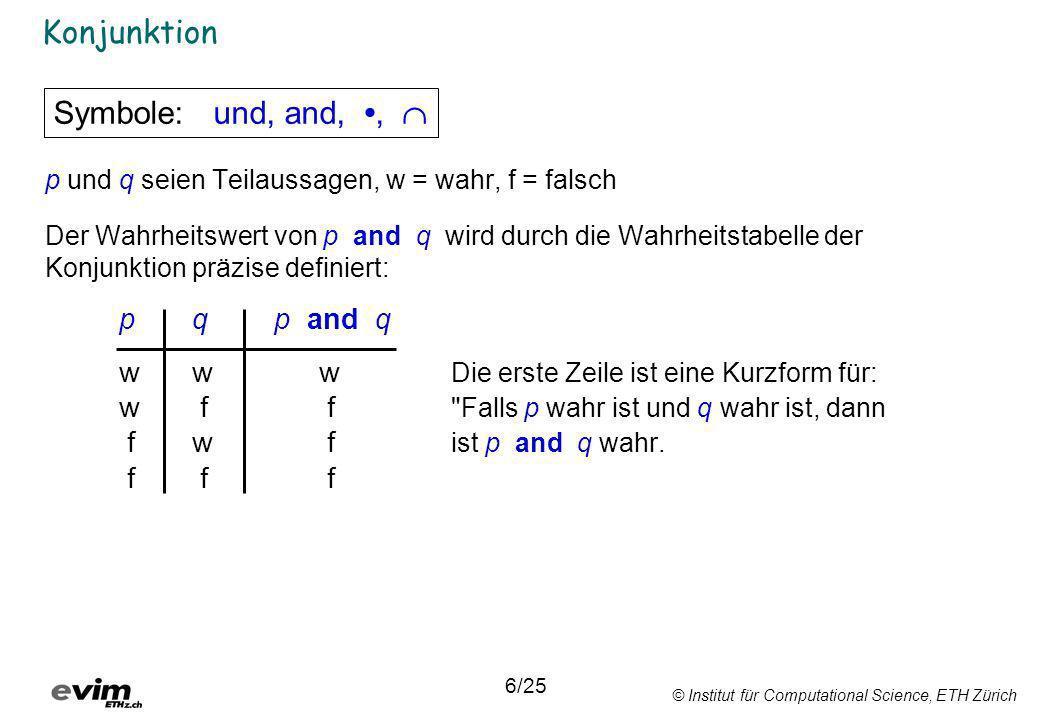 © Institut für Computational Science, ETH Zürich Verifizierung logischer Ausdrücke 25/25 AB((A B) + (A ¬B)) + (¬A ¬B) 1111111001000 1010011111001 0100100000100 0000000011111 Schritt:12151316141 ABA + ¬B 11110 10111 01000 00011 Schritt:121 Reihenfolge: Aussage Logischer Ausdruck (Symbole) Boolesche Algebra Ausdruck evaluieren 1.