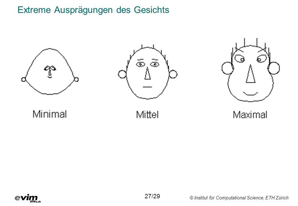 © Institut für Computational Science, ETH Zürich Extreme Ausprägungen des Gesichts 27/29
