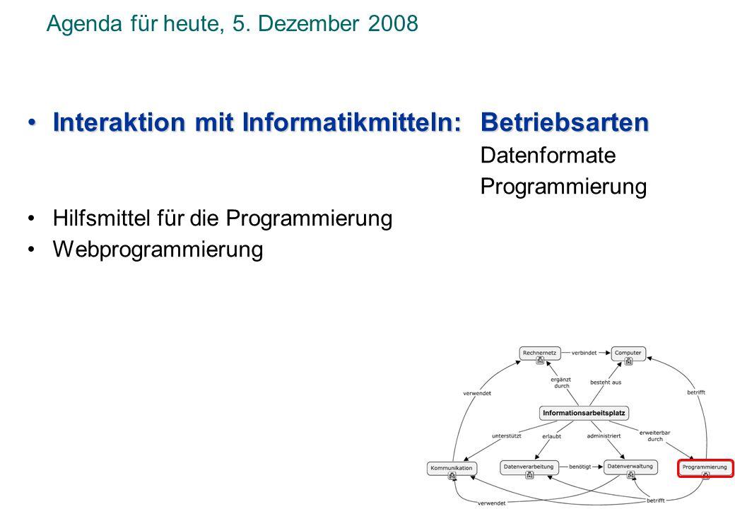 Agenda für heute, 5. Dezember 2008 Interaktion mit Informatikmitteln: BetriebsartenInteraktion mit Informatikmitteln: Betriebsarten Datenformate Progr