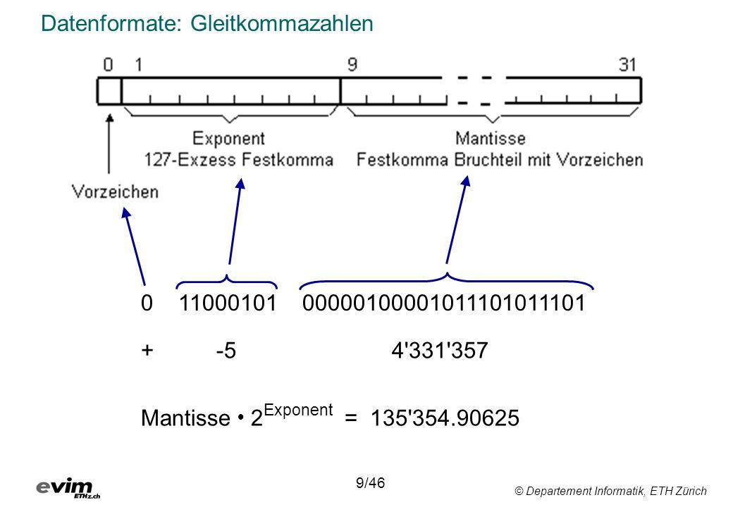 © Departement Informatik, ETH Zürich Datenformate: Gleitkommazahlen 0 11000101 00000100001011101011101 9/46 + -5 4 331 357 Mantisse 2 Exponent = 135 354.90625