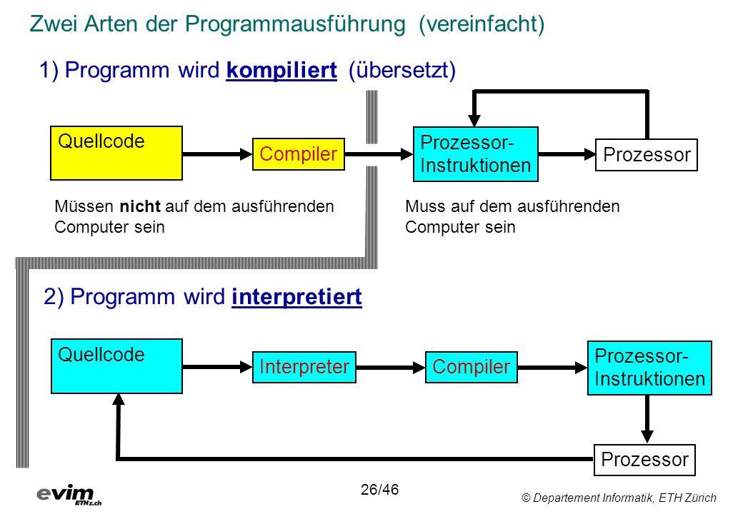 © Departement Informatik, ETH Zürich Zwei Arten der Programmausführung (vereinfacht) 1) Programm wird kompiliert (übersetzt) 2) Programm wird interpretiert Prozessor- Instruktionen Compiler Quellcode Interpreter Quellcode Prozessor- Instruktionen Prozessor Compiler Prozessor Müssen nicht auf dem ausführenden Computer sein 26/46 Muss auf dem ausführenden Computer sein