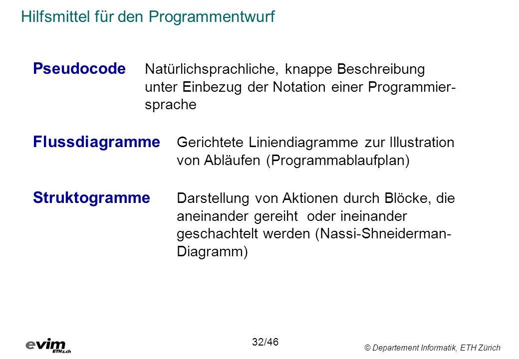 © Departement Informatik, ETH Zürich Hilfsmittel für den Programmentwurf Pseudocode Natürlichsprachliche, knappe Beschreibung unter Einbezug der Notat