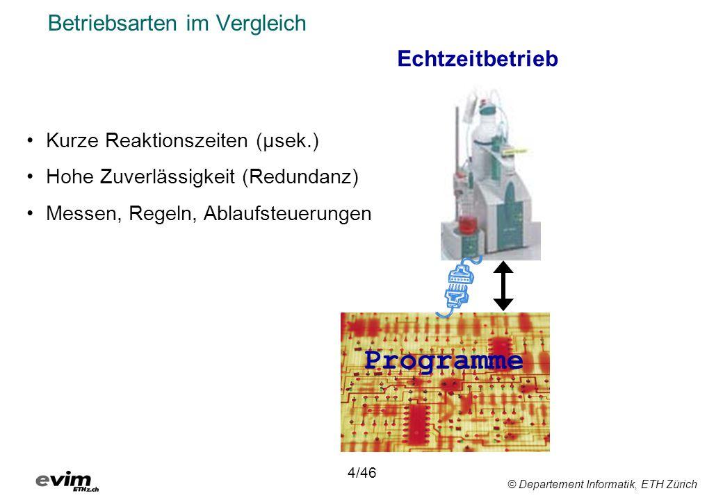 © Departement Informatik, ETH Zürich Betriebsarten im Vergleich Echtzeitbetrieb 4/46 Kurze Reaktionszeiten (μsek.) Hohe Zuverlässigkeit (Redundanz) Messen, Regeln, Ablaufsteuerungen Programme
