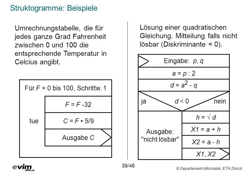 © Departement Informatik, ETH Zürich Struktogramme: Beispiele Für F = 0 bis 100, Schrittw. 1 F = F -32 tueC = F 5/9 Ausgabe C 39/46 Umrechnungstabelle