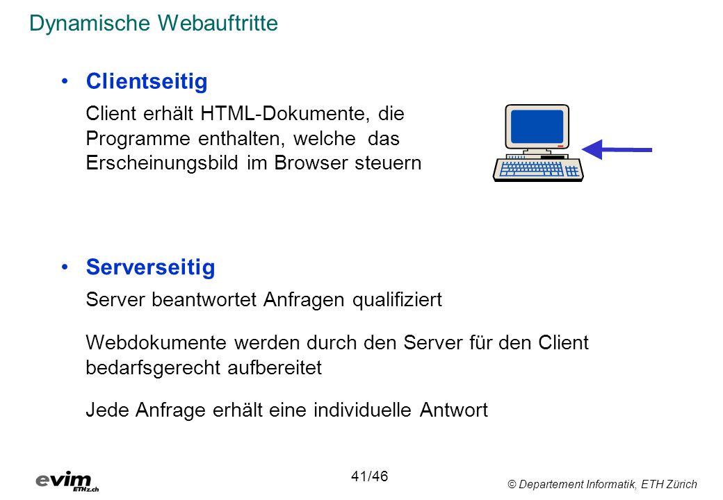 © Departement Informatik, ETH Zürich Dynamische Webauftritte Serverseitig Server beantwortet Anfragen qualifiziert Webdokumente werden durch den Serve