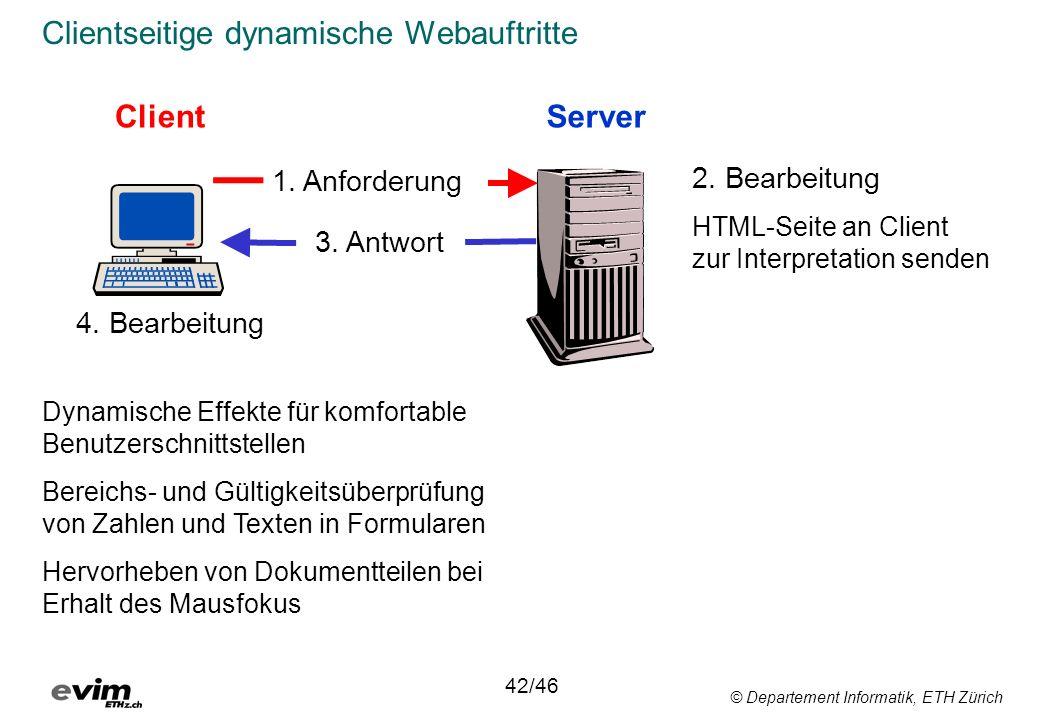 © Departement Informatik, ETH Zürich Clientseitige dynamische Webauftritte ClientServer 1. Anforderung 3. Antwort Dynamische Effekte für komfortable B