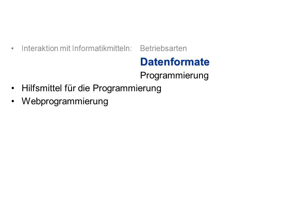 Interaktion mit Informatikmitteln: BetriebsartenDatenformate Programmierung Hilfsmittel für die Programmierung Webprogrammierung