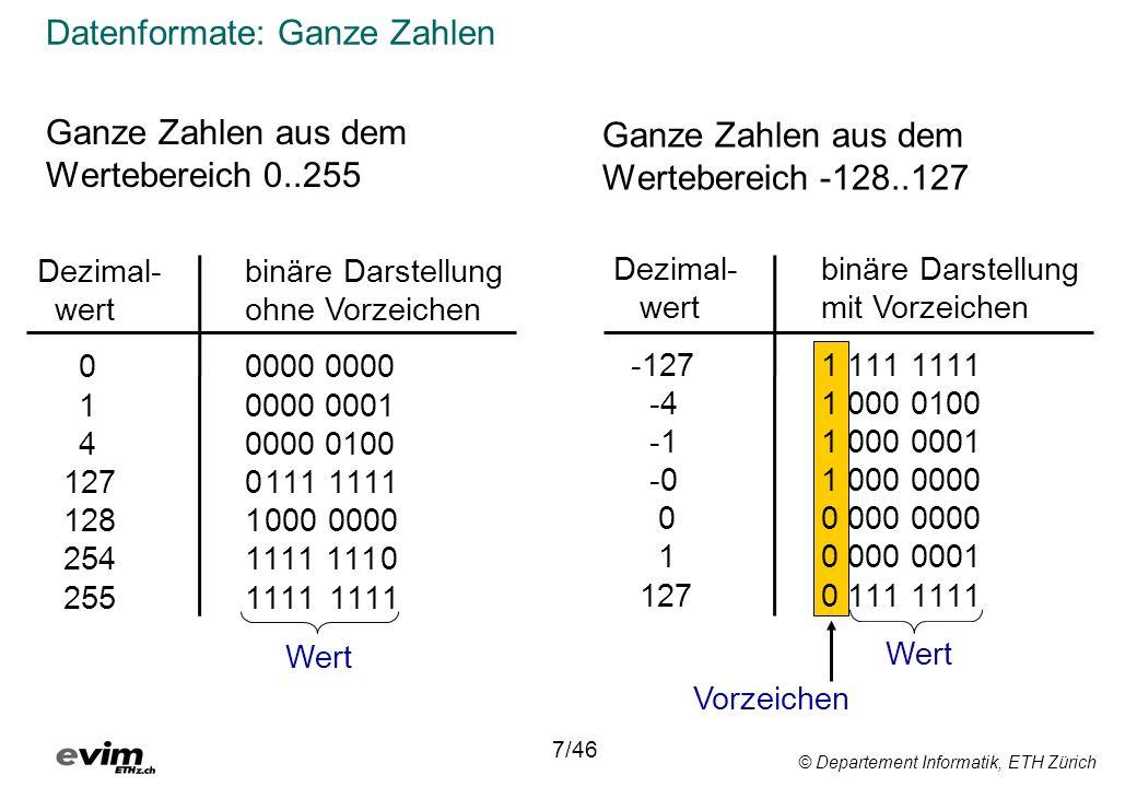 © Departement Informatik, ETH Zürich Datenformate: Ganze Zahlen Ganze Zahlen aus dem Wertebereich 0..255 Dezimal-binäre Darstellung wert ohne Vorzeichen 0 0000 0000 1 0000 0001 40000 0100 127 0111 1111 128 1000 0000 254 1111 1110 255 1111 1111 Wert Vorzeichen 7/46 Dezimal-binäre Darstellung wertmit Vorzeichen -127 1 111 1111 -41 000 0100 -1 1 000 0001 -0 1 000 0000 0 0 000 0000 1 0 000 0001 127 0 111 1111 Ganze Zahlen aus dem Wertebereich -128..127