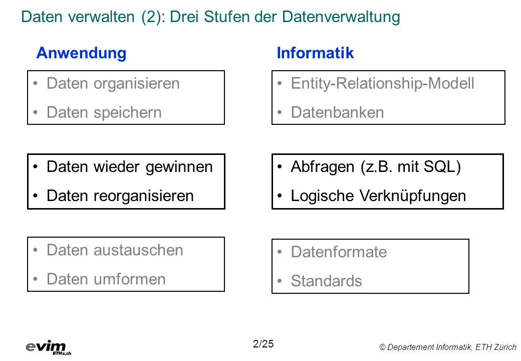 © Departement Informatik, ETH Zürich Daten verwalten (2): Drei Stufen der Datenverwaltung 2/25 Daten organisieren Daten speichern Daten wieder gewinnen Daten reorganisieren AnwendungInformatik Entity-Relationship-Modell Datenbanken Daten austauschen Daten umformen Abfragen (z.B.