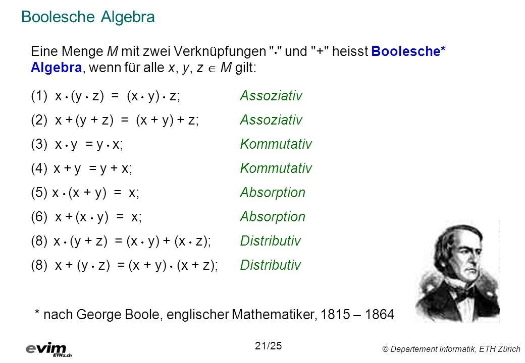 © Departement Informatik, ETH Zürich Boolesche Algebra Eine Menge M mit zwei Verknüpfungen und + heisst Boolesche* Algebra, wenn für alle x, y, z M gilt: (1) x (y z) = (x y) z;Assoziativ (2) x + (y + z) = (x + y) + z;Assoziativ (3) x y = y x;Kommutativ (4) x + y = y + x;Kommutativ (5) x (x + y) = x;Absorption (6) x + (x y) = x;Absorption (8) x (y + z) = (x y) + (x z);Distributiv (8) x + (y z) = (x + y) (x + z);Distributiv 21/25 * nach George Boole, englischer Mathematiker, 1815 – 1864