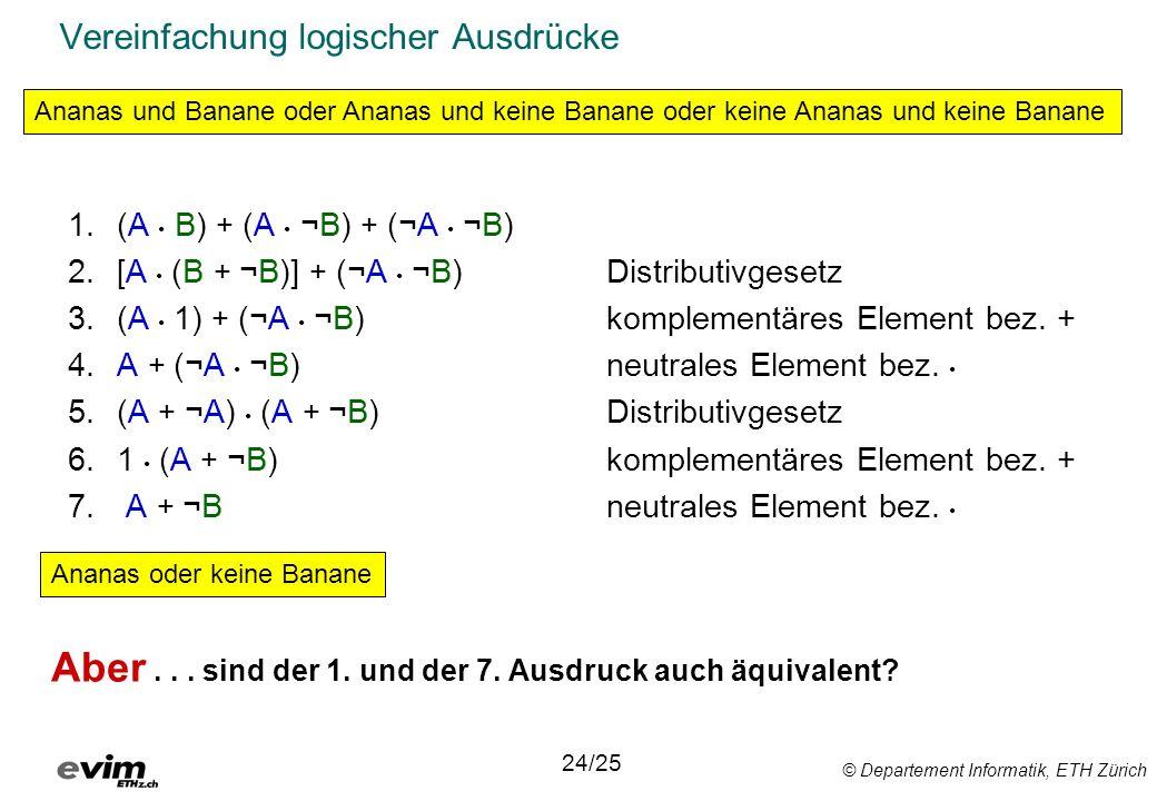 © Departement Informatik, ETH Zürich Vereinfachung logischer Ausdrücke 1.(A B) + (A ¬B) + (¬A ¬B) 2.[A (B + ¬B)] + (¬A ¬B) Distributivgesetz 3.(A 1) + (¬A ¬B) komplementäres Element bez.