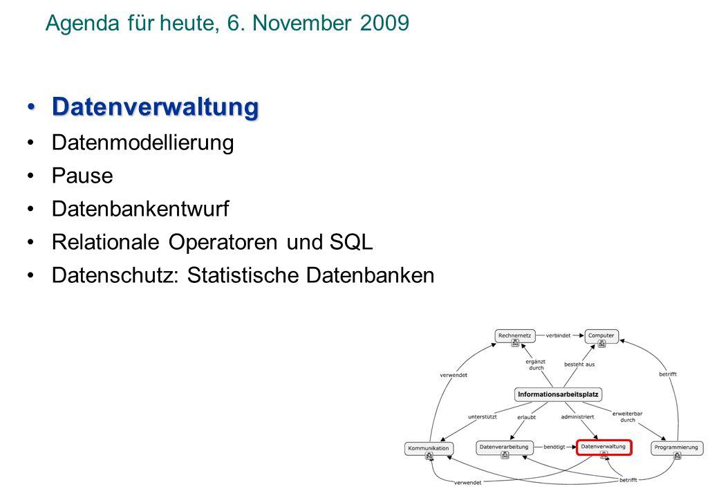 Agenda für heute, 6. November 2009 DatenverwaltungDatenverwaltung Datenmodellierung Pause Datenbankentwurf Relationale Operatoren und SQL Datenschutz:
