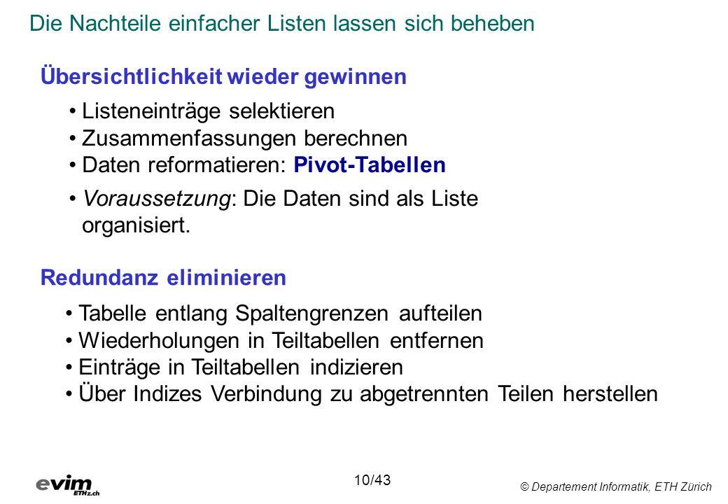 © Departement Informatik, ETH Zürich Die Nachteile einfacher Listen lassen sich beheben 10/43 Übersichtlichkeit wieder gewinnen Redundanz eliminieren